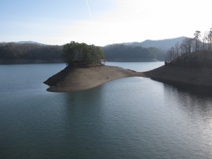 A view of Fontana Lake from the dam.