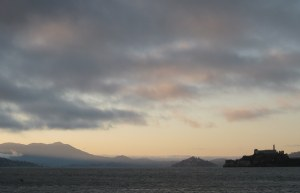 Mount Tamalpais and Alcatraz across the San Francisco Bay not  far walking