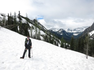 Hiking on solid snow with crampons was not at all bad