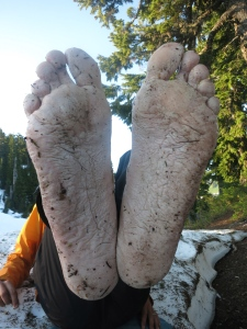 """Dirt Stew's feet.  Our feet didn't like being wet all day, unlike """"Frog's"""""""