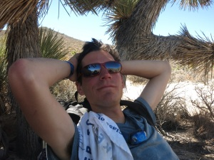 Taking a break under a Joshua Tree